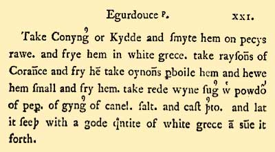 Oldcook: Forme of Cury and cookery books in English - Egurdouce, Forme of Cury